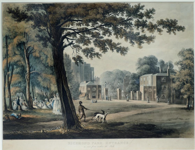 "Aquatint ""Richmond Park Entrance – As seen from inside the Park"", etched by Thomas Sutherland (1819) from a drawing by John Gendall"